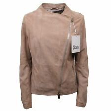 C0218 giacca donna HERNO vintage pelle beige light brown suede jacket woman