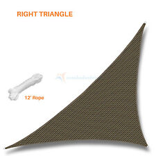 Sun Shade Sail Brown Right Triangle Permeable Canopy Lawn Patio Pool Garden Deck