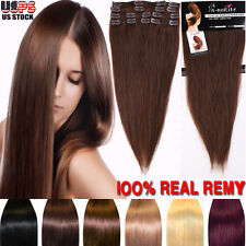 """USPS Clip In 100% Remy Human Hair Full Head Extensions 10 13 16 18 20 22"""" BS432"""