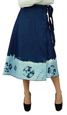 Bimba Mid-Calf Wrap Around Denim Skirt Boho Wrap Skirt With Extended Belt