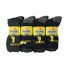 12 Pairs Mens Socks Heavy Duty Work Footwear Black Big Multipack Size 6-11 11-14