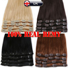 "Black Brown Blonde 8PCS Clip in Remy Human Hair Extensions Full Head 10""-22""N674"
