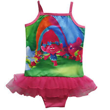 Kids Girls Trolls One Piece Bikini Cute Cartoon Summer Swimwear Bathing Swimsuit