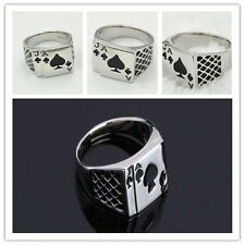 Hot Silver Punk Mens Ace of Spades Casino Poker Card Game Lucky Ring Gift T(T#