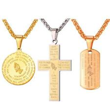 U7 Praying Hands Pendant Stainless Steel Necklace Religious Bible Verse Cross