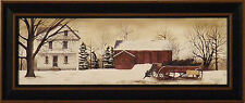 CHRISTMAS TREES FOR SALE by Billy Jacobs 9x21 FRAMED PRINT Wagon Barn Winter