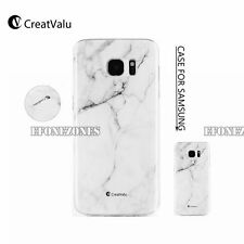 Art Glossy White Granite Marble Soft TPU Phone Case Cover For Samsung & iPhone