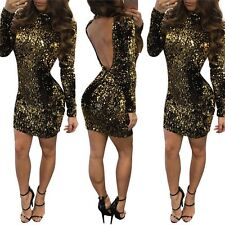 Women's Evening Party Long Sleeve Ball Prom Gown Cocktail Sequins Mini Dress