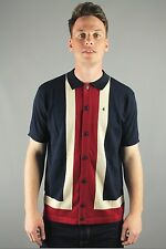 Gabicci Vintage V38GM07 Angelo Mens Short Sleeve Button Down Polo Shirt Navy Blu