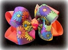Vibrant Daisy Spring Boutique Hair Bow Double Layer Hairbow Purple Coral Orange