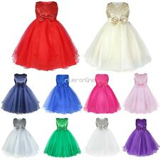Flower Girls Bow Princess Dress Baby Kids Party Wedding Bridesmaid Formal Gown
