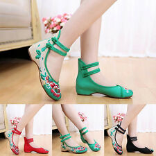 Women Lady Chinese Style Casual Flat Shoes Soft Sole Retro Walking Casual Shoes