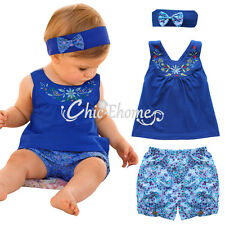 3pcs Baby Girl Kids Clothes Newborn headband +Top+Shorts Outfit Sets Costume