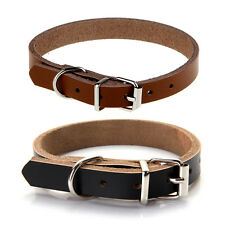 Brown Black Cow Leather Dog Pet Cat Puppy Adjustable Gift Neck Collar XS S M L