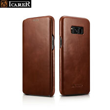 ICARER Vintage Retro Genuine Leather Flip Cover Case For Samsung Galaxy S8+ Plus