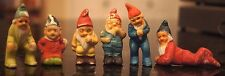 "6 Vintage Ceramic Miniature Gnomes Japan Each Different 2"" - 2 5/8"" tall"