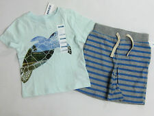 NWT Boys Old Navy Size 18-24 Months Sea Turtle Top Baby Gap Striped Knit Shorts