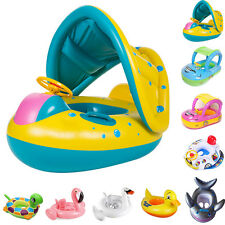 Kids Baby Toddler Swimming Pool Water Swim Seat Float Boat Ring With Wheel  Horn