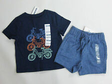 NWT Boys Old Navy Size 12-18 Months Motorcycle Top Baby Gap Blue Marled Shorts