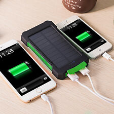 Portable Waterproof 20000mAh Compass Solar Charger Dual USB Battery Power Bank