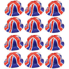 BRITISH UNION JACK BOWLER HAT PLASTIC JUBILEE GEORGES PATRIOTIC SINGLE JOB LOT