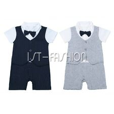 Baby Boys Formal Suit Romper Wedding Christening Outfit Clothes Gentleman Tuxedo