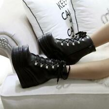 New Womens Lace up Shoes Goth Wedge High Heels Platform Chic Hot  Ankle Boots US