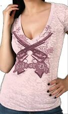 Ladies RIDE OR DIE Burnout Pink Top Motorcycle Biker Womens Deep V Guns t-shirt