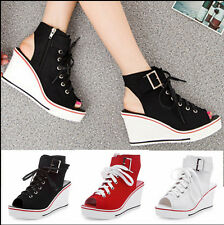 Preppy Casual Womens Open Toe Canvas Wedge Lace Up Slingbacks Sneakers Sandals