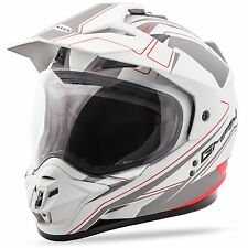 GMAX GM11 Expedition Dual Sport Helmet - Flat White / Red - XS-2X