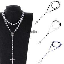 Fashion Mens Womens 8mm Rosary Beads Long Chain Sweater Cross Pendant Necklace