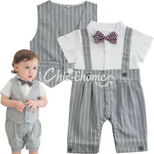 Baby Boy Stripe Vest + Romper Bodysuit Ouifit Clothes Set Gentleman Vintage Suit