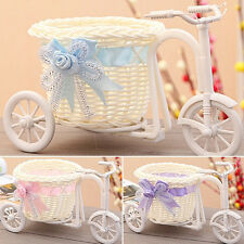 Romantic Tricycle Designed Rattan Flower Basket Vase Props Wedding Home Decor