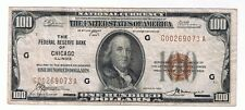 NATIONAL CURRENCY FEDERAL RESERVE BANK OF CHICAGO ILLINOIS $100.00 NOTE #1890-G