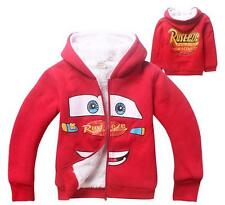 Kids Boys Girls Cars Lightning McQueen Hoodie Zip Thick Warm Winter Coats Jumper