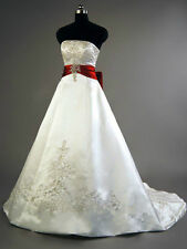 Custom 395Satin embroidery Wedding Dress White/Red Bridal Gown A-Line Size 4-28