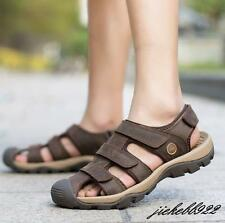 Mens Genuine Leather Closed Toe Fisherman Beach Summer Sports Sandals Breathable