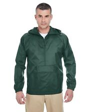 Ultraclub 8925 Adult Quarter-Zip Hooded Pullover Pack-Away Jacket
