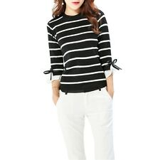 Women Black White Color Striped Knitted Three Quarter Sleeve Slim Sweater