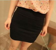 Women Casual Solid Pattern A-Line Candy Color Natural Waistline Mini Skirt