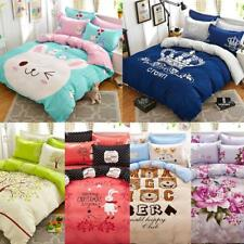 4PC Duvet Cover Set+Pillow Cases Quilt Cover Flat Sheet Bedding for All Sizes