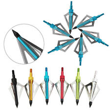 6X 100Grain Hunting Arrow Broadheads 3-steel Fixed Blade for Compound & Crossbow