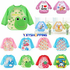 Cute Baby Boys Girls Toddler Children Waterproof Long Sleeve Bib Art Apron Smock