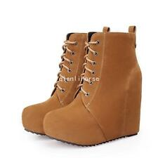 Women's Faux Suede Hidden Wedge Heel Platform Round Toe Ankle Boots Party Shoes