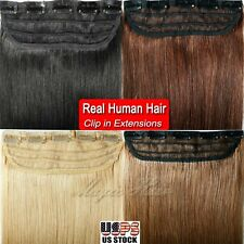 One Piece Top Clip In Remy Real Human Hair Extensions 16-22 inch US Seller SU899