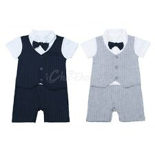 Newborn Infant Baby Boys Striped Romper Tie Tuxedo Coverall Outfit Formal Suit
