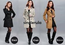 New Womens Long Sleeve Slim Fit Trench Double Breasted Coat Jacket Outwear SI