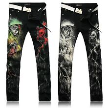 4U468 Men's Rock Coloured drawing Portait Pattern Long Trousers Straight Jeans