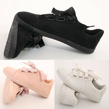 NEW WOMENS LADIES FAUX SUEDE RIBBON LACE UP PLATFORM TRAINERS SHOES UK SIZE 8-14