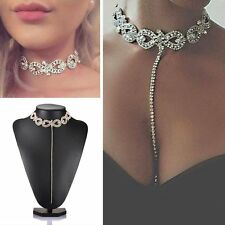 Women Fashion Silver/Gold Crystal Rhinestone Pendant Choker Collar Necklace Gift